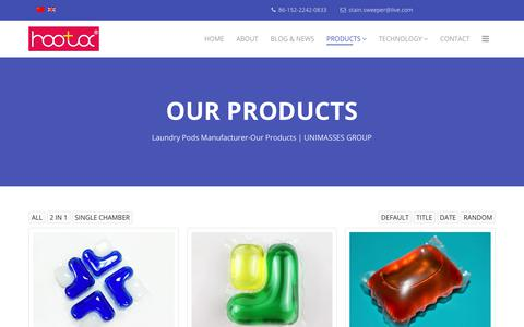 Screenshot of Products Page unimasses.com - Laundry Pods Manufacturer-Our Products | UNIMASSES GROUP - captured Sept. 27, 2018