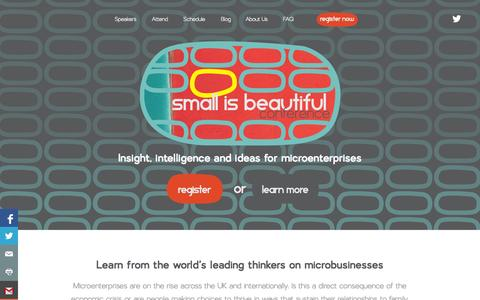 Screenshot of Home Page smallisb.com - Attend the Small is Beautiful Conference on 4-5 June 2014 in Glasgow #microbusiness #solopreneur - captured Oct. 8, 2014