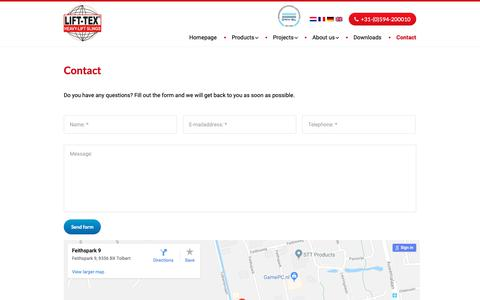 Screenshot of Contact Page lift-tex.nl - Contact - Lift-Tex® - captured Dec. 15, 2018