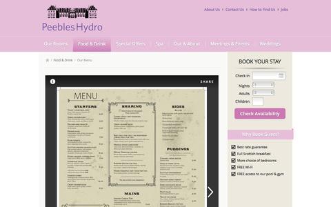 Screenshot of Menu Page peebleshydro.co.uk - Our Menu | Scottish Borders Food & Drink | Peebles Hydro Hotel - captured May 15, 2017