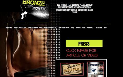 Screenshot of Press Page bronzedebeaut.com - MAGAZINE-INTERVIEWS AND MORE - captured Nov. 23, 2016