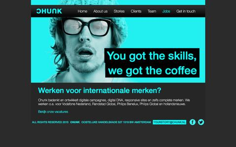 Screenshot of Jobs Page chunk.nl - Chunk – Digital Agency - Jobs - captured July 9, 2016