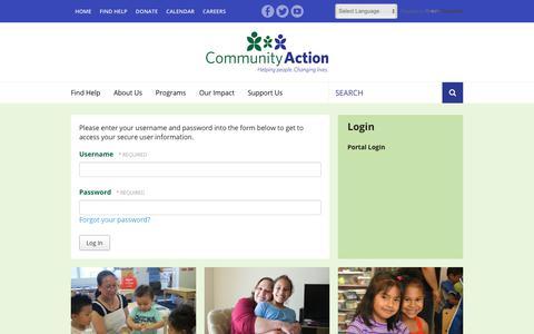 Screenshot of Login Page caowash.org - Community Action : Login : Portal Login - captured Sept. 28, 2018