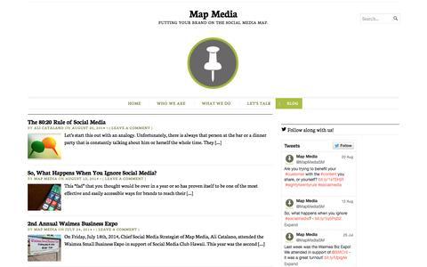 Screenshot of Blog mapmediagroup.com - Blog | Map Media | Putting your brand on the social media map. - captured Oct. 27, 2014