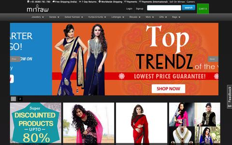 Screenshot of Home Page mirraw.com - Artificial Jewellery Online, Buy Fashion, Imitation Jewellery Online India - captured Dec. 2, 2015