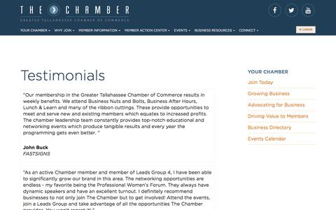 Screenshot of Testimonials Page talchamber.com - Greater Tallahassee Chamber of Commerce - captured Nov. 13, 2016