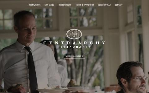 Screenshot of Home Page centraarchy.com - CentraArchy - Restaurant Management Group - captured April 19, 2016