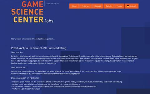 Screenshot of Jobs Page gamesciencecenter.de - Jobs - captured Nov. 2, 2014