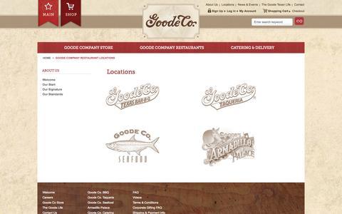 Screenshot of Locations Page goodecompany.com - Goode Company Restaurant Locations - captured Oct. 2, 2014