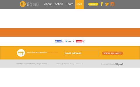Screenshot of Signup Page thehappinessassembly.org - The Happiness Assembly - captured Oct. 26, 2014