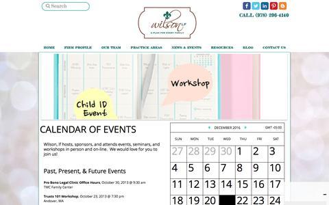 Screenshot of Press Page wilsonlf.com - Wilsonlf Calendar of Events - captured Dec. 22, 2016