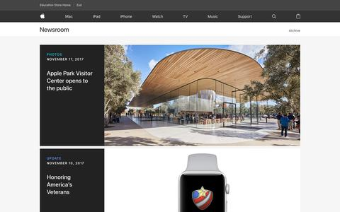 Screenshot of Press Page apple.com - Newsroom - Apple - captured Nov. 20, 2017