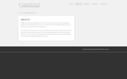 Screenshot of About Page bridgepropertiesgroup.com - About Us | Bridge Properties GroupBridge Properties Group - captured Sept. 30, 2014