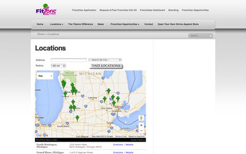 Screenshot of Contact Page Locations Page fitzoneforwomen.com - FitZone for Women - Fitness Center Locator - Map of FitZone Locations | FitZone For Women - captured March 26, 2016