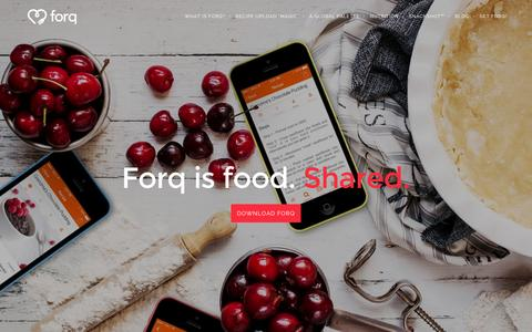 Screenshot of Home Page getforq.com - Forq | Because great food deserves to be shared - captured Feb. 10, 2016