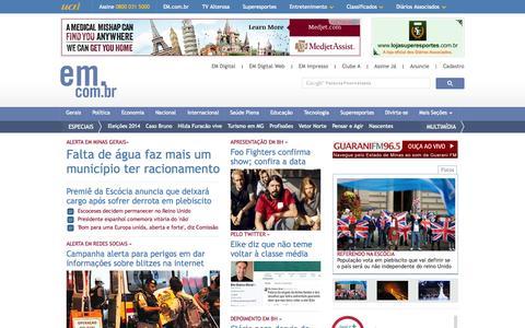 Screenshot of Home Page em.com.br - Estado de Minas - Notícias, Minas Gerais, política, economia, internacional - captured Sept. 19, 2014