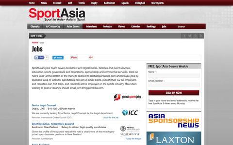 Screenshot of Jobs Page sport-asia.com - Jobs - Sport Asia - captured June 13, 2016