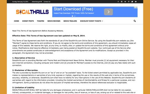 Screenshot of Terms Page socalthrills.com - Terms of Use - SOCALTHRILLS - captured Feb. 15, 2016