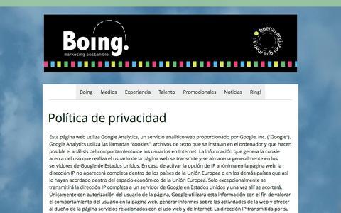 Screenshot of Privacy Page boingmarketing.net - Política de privacidad - Agencia de Marketing Sostenible - captured June 2, 2017