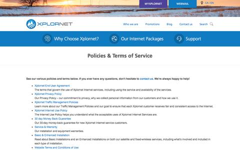 Screenshot of Terms Page xplornet.com - Policies & Terms of Service - Xplornet - captured Jan. 19, 2016