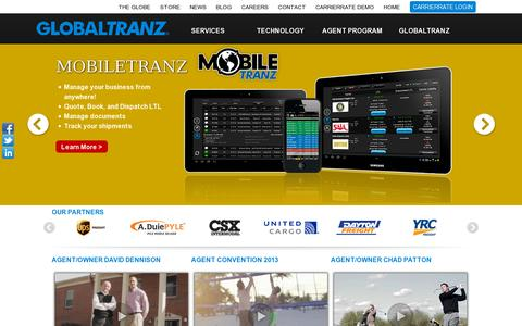 Screenshot of Home Page globaltranz.com - GlobalTranz - captured July 11, 2014