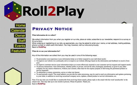 Screenshot of Privacy Page roll2play.com - Roll2Play - 150 S. Denton Tap Road - captured Oct. 7, 2014