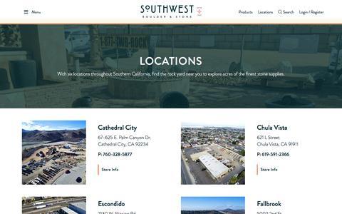 Screenshot of Locations Page southwestboulder.com - Locations - Retail Stores | Southwest Boulder & Stone - captured Nov. 8, 2017