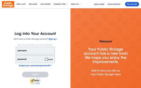 Screenshot of Login Page publicstorage.com - Account Log In | Public Storage - captured July 15, 2019