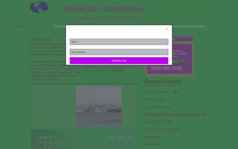 Screenshot of Home Page universallaboratories.net - Universal Laboratories provides services in the Environmental Testing - captured July 13, 2018
