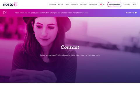 Screenshot of Contact Page nosto.com - Contact Us - Nosto - captured Sept. 12, 2018