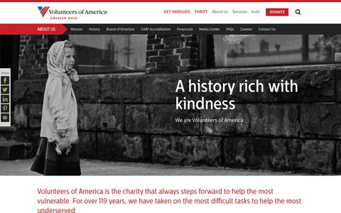 Screenshot of About Page voago.org - About Volunteers of America of Greater Ohio | Volunteers of America - captured Nov. 30, 2016