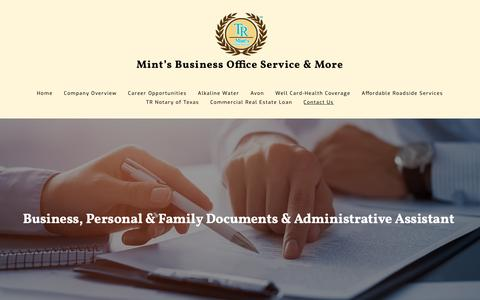 Screenshot of Contact Page mintsofficeservices.com - Mint's Office Services & Notary Publoic - Contact Us - captured Nov. 25, 2018