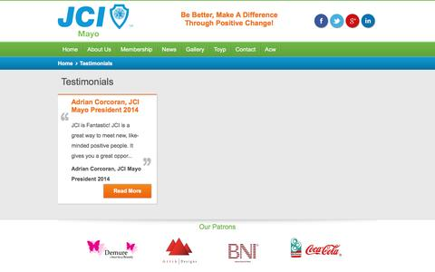 Screenshot of Testimonials Page jcimayo.ie - JCI Mayo's  Testimonials - captured Aug. 8, 2016