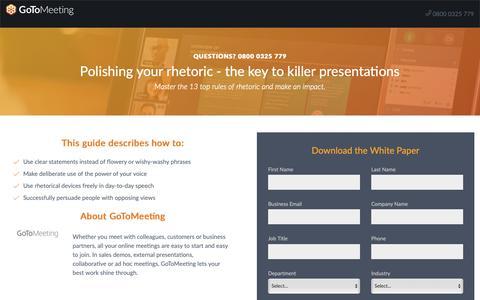 Screenshot of Landing Page gotomeeting.com - Polishing your rhetoric - the key to killer presentations - captured Sept. 30, 2018