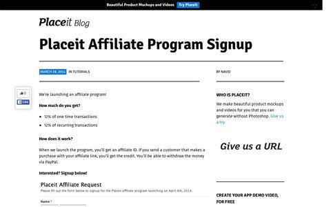 Screenshot of placeit.net - Placeit Affiliate Program Signup | Placeit Blog - captured March 19, 2016