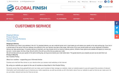 Screenshot of Support Page globalfinish.com - Customer Service   Global Finish UK - captured May 19, 2017