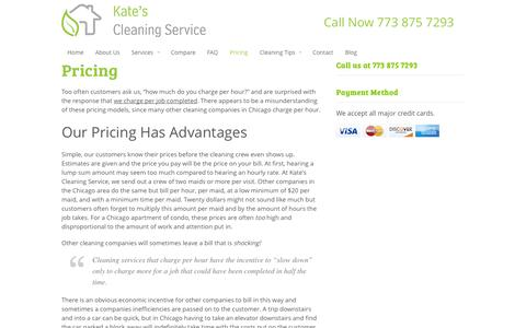 Screenshot of Pricing Page katescleaning.com - Cleaning Services Pricing and Packages In Chicago | Kate's Cleaning Service - captured Oct. 6, 2014