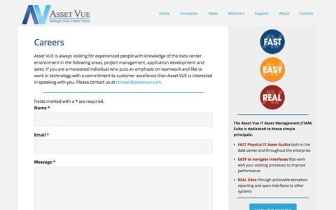 Screenshot of Jobs Page assetvue.com - Careers - Asset Vue - captured Feb. 6, 2016