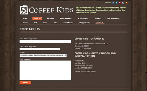 Screenshot of Contact Page coffeekids.org - Contact Us - Coffee Kids - captured Sept. 30, 2014
