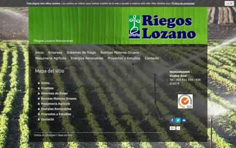 Screenshot of Site Map Page riegoslozano.com - Mapa del sitio - Riegos lozano de Manzanares - captured June 14, 2017