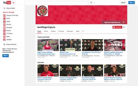 Screenshot of YouTube Page youtube.com - Iam4RaginCajuns  - YouTube - captured Oct. 30, 2014