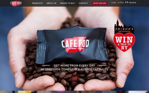 Screenshot of Home Page cafepod.com - CaféPod | Nespresso® Compatible Coffee Capsules - captured Oct. 1, 2014