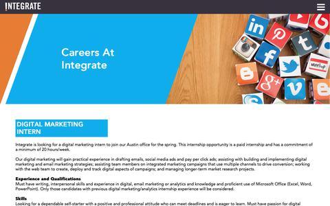 Screenshot of Jobs Page integrateagency.com - Careers & Internships   Integrate Agency - captured Nov. 20, 2018