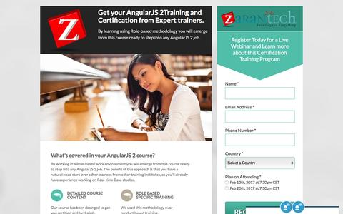 Screenshot of Landing Page zarantech.com - Expert Webinar: SAP HANA Training and Certification - captured Feb. 8, 2017