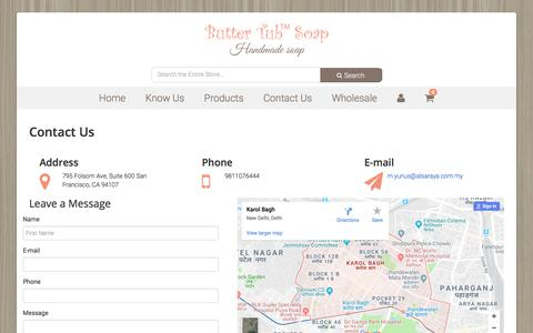 Screenshot of Contact Page buttertubsoap.com - Contact us - captured Aug. 4, 2018