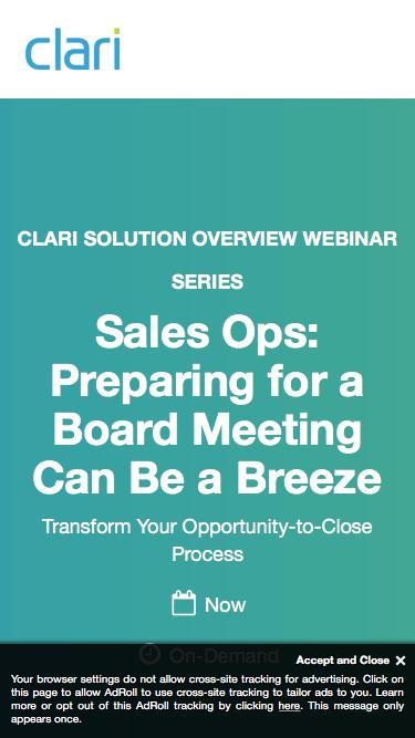 Webinar: Sales Ops: Preparing for a Board Meeting Can Be a Breeze
