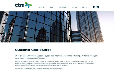 Screenshot of Case Studies Page travelctm.com - Case Studies - Corporate Travel Management - captured Oct. 23, 2019