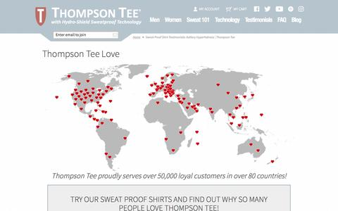 Screenshot of Testimonials Page thompsontee.com - Sweat Proof Shirt Testimonials: Axillary Hyperhidrosis | Thompson Tee - captured Dec. 23, 2016