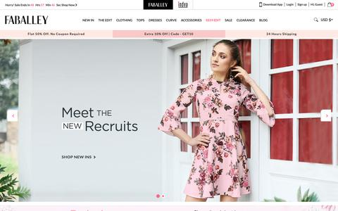 Screenshot of Home Page faballey.com - Online Fashion Store - Online Shopping Site for Women in India - FabAlley - captured April 13, 2019