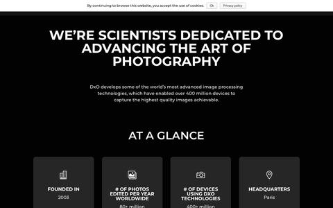 Screenshot of About Page dxo.com - Company - DxO - captured Jan. 15, 2019